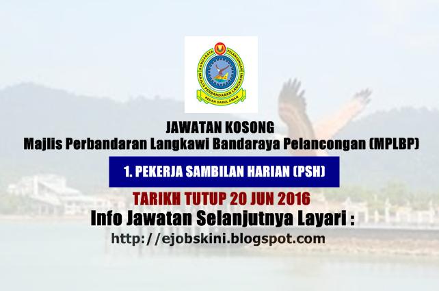 Jawatan kosong Majlis Perbandaran Langkawi Bandaraya Pelancongan jun 2016