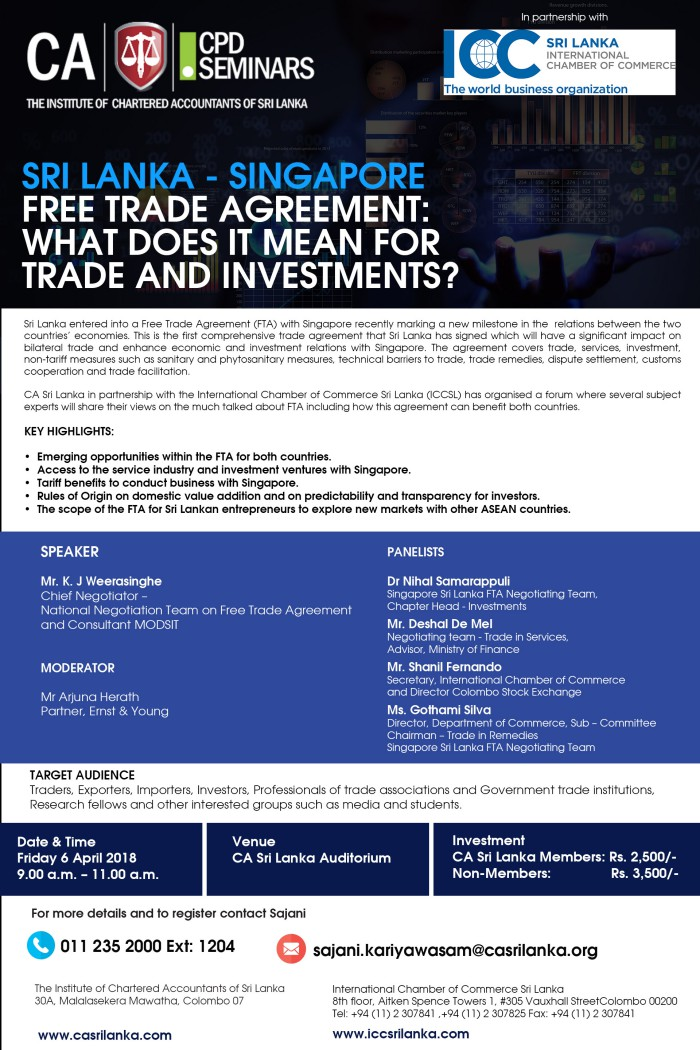 Sri Lanka Singapore Free Trade Agreement What Does It Mean For