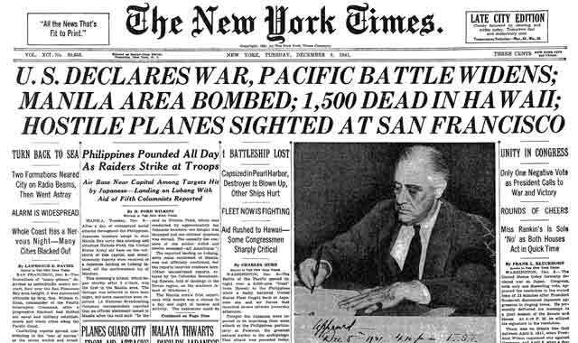 New York Times, 9 December 1941 worldwartwo.filminspector.com