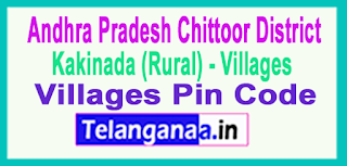 East Godavari District  Kakinada (Rural) Mandal and Villages Pin Codes in Andhra Pradesh State