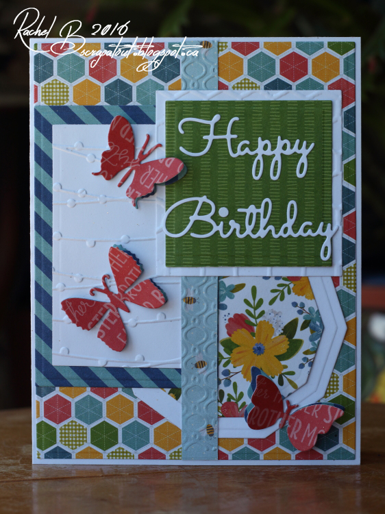 Scrapatout - Handmade card, Happy Birthday, Butterflies, Mojo Monday,