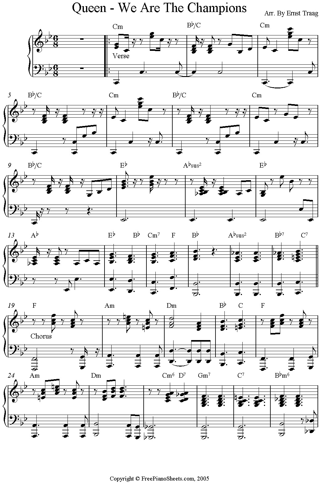 "Partitura para piano de ""We Are The Champions"" de Queen"
