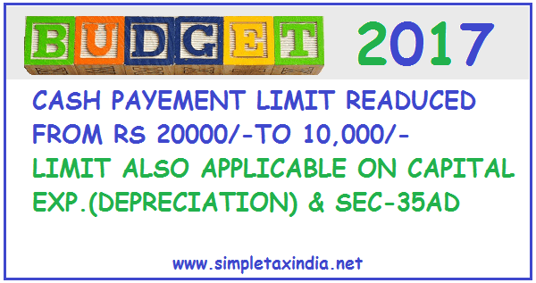 CASH PAYMENT LIMIT REDUCED TO Rs 10000/- FROM Rs 20000/- EARLIER