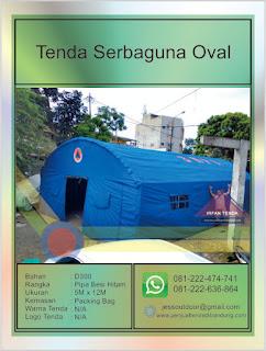 Tenda Bantuan Darurat Bencana BNPB berbentuk Oval sehingga sering disebut Tenda Oval dengan ukuran Tenda 5M x 12M