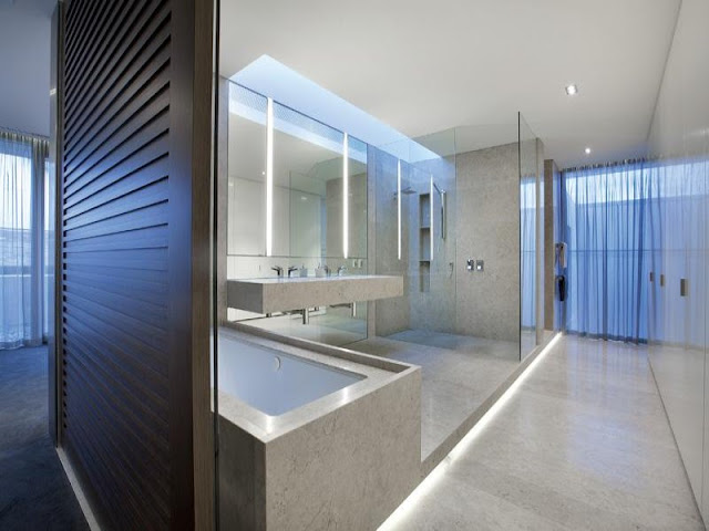 Modern bathroom with big shower cabin in amazing residence in Melbourne