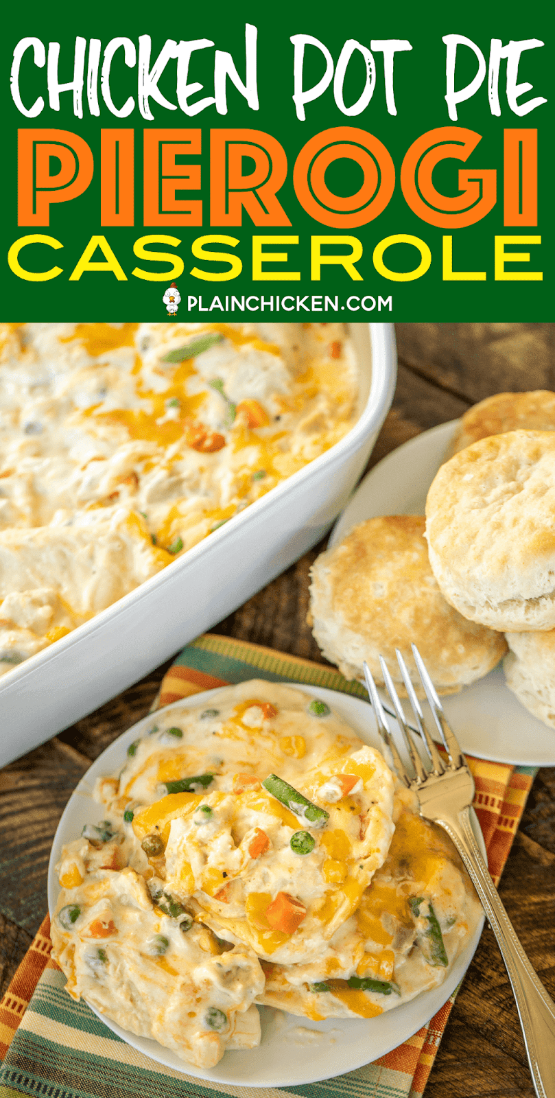 Chicken Pot Pie Pierogi Casserole - comfort food at its best! All you need is a few biscuits and dinner is done! Can make ahead of time and refrigerate or freeze for later. Pierogis, cream of chicken soup, sour cream, mixed vegetables, cheddar cheese, chicken, garlic, onion, salt and pepper. Everyone LOVES this easy casserole. Even our picky eaters cleaned their plate. #casserole #chicken #chickenpotpie
