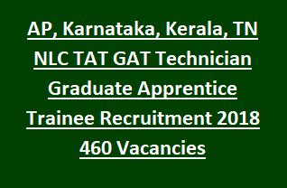 AP, Karnataka, Kerala, TN NLC TAT GAT Technician Graduate Apprentice Trainee Recruitment Notification 2018 460 Vacancies