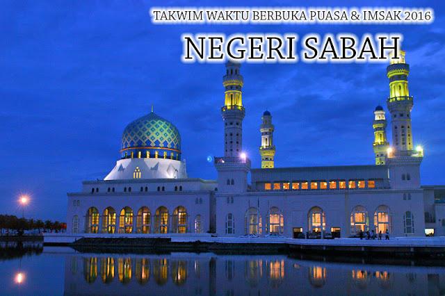 Takwim Waktu Berbuka Puasa & Imsak 2016 Negeri Sabah