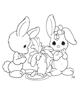 Cute Baby Bunny Rabbit Eat Carot Coloring Sheet