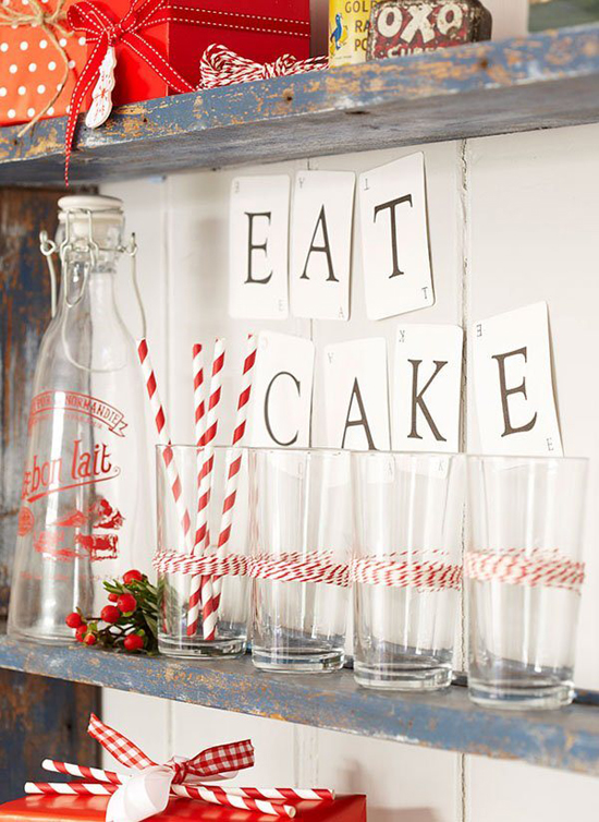 Wrap plain tumblers with red and white bakers twine for an easy to make instant holiday decor.