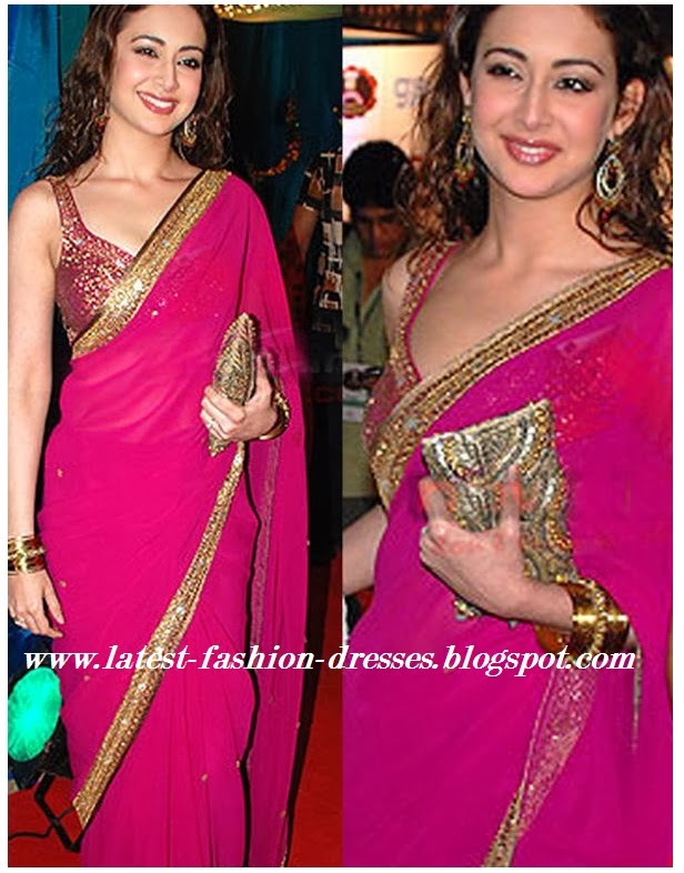 PLAIN PINK COLOUR GOLD BORDER SAREE