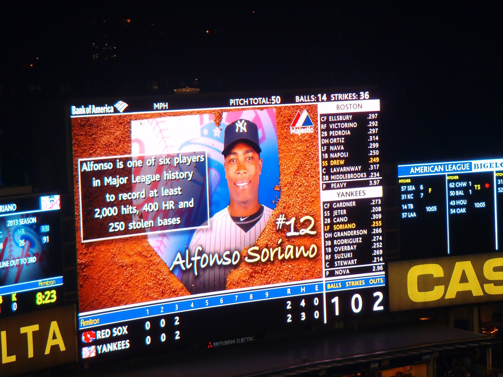 Alfonso Soriano on big screen at Yankee Stadium