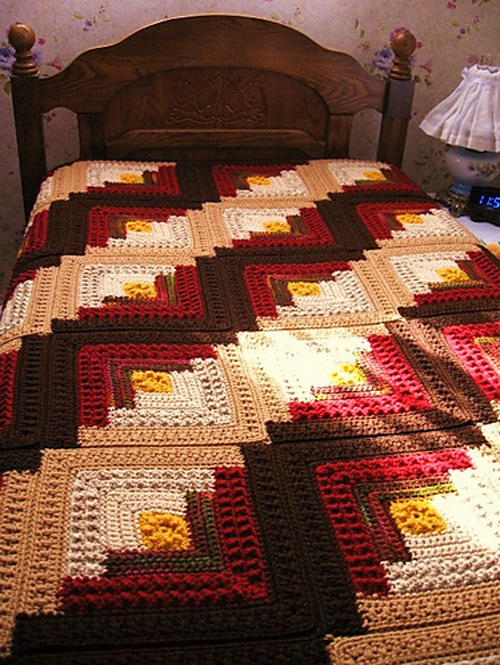 Log Cabin Comfort Throw - Free Pattern