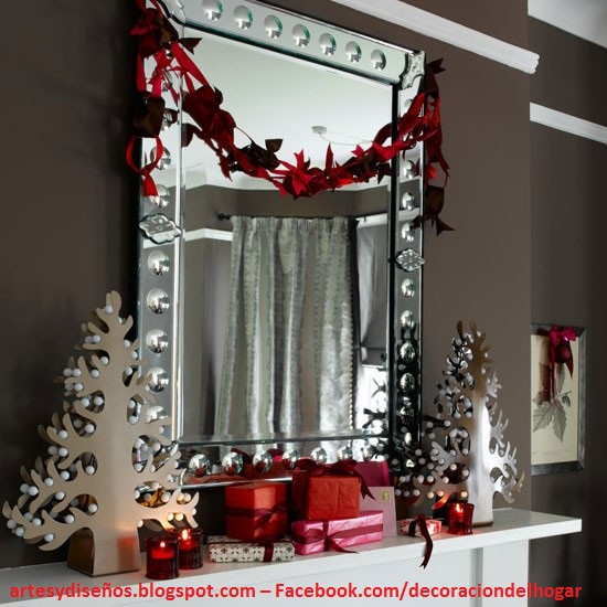 IDEAS PARA DECORAR ESPEJOS NAVIDEÑOS by artesydisenos.blogspot.com