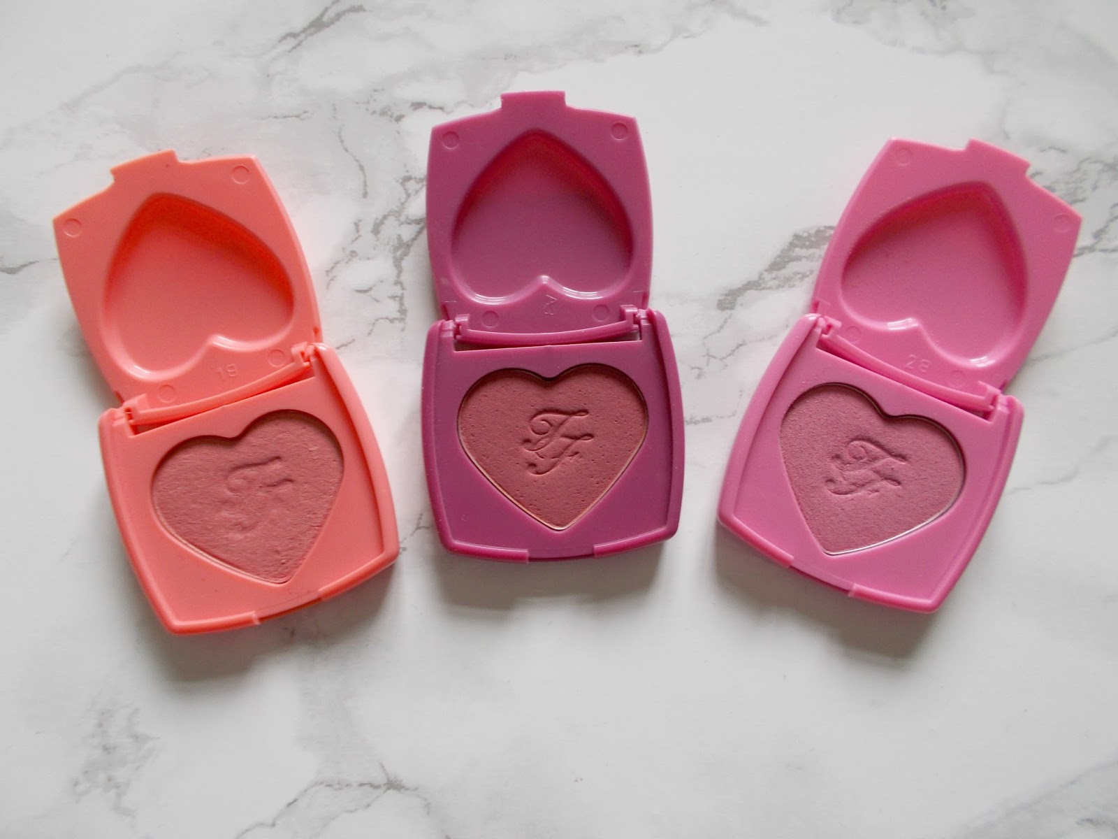 too faced love flush blushes love hangover your love is king justify my love