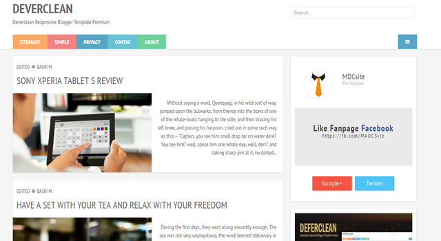 Deverclean Responsive Blogger Templates