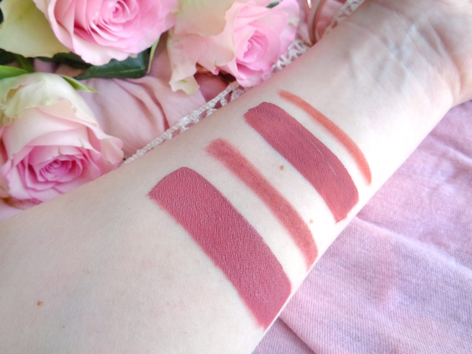Makeup Revolution Retro Luxe Matte Lip Kit Echelon Swatch; Kylie Cosmetics Matte Liquid Lipstick Candy K Swatch; Fresh Pink Roses