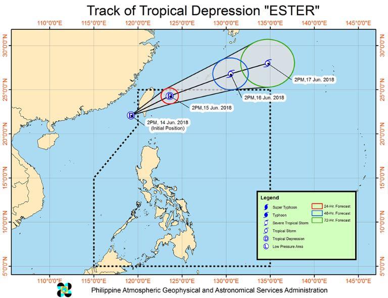 track of tropical depression Ester