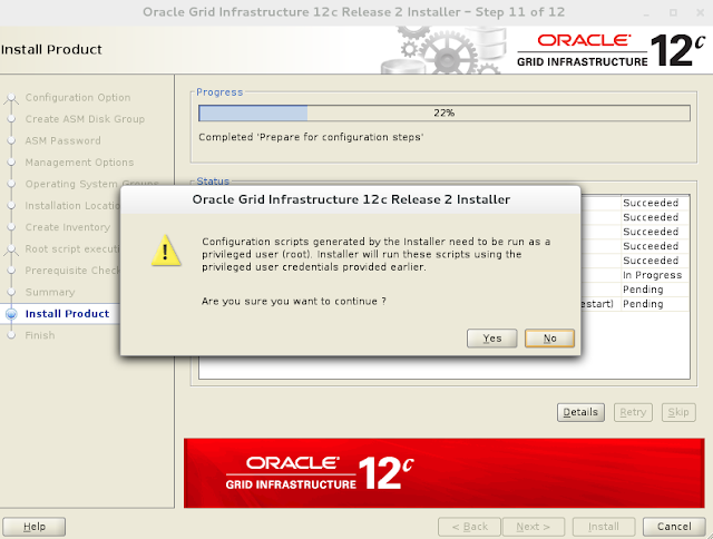 Oracle 12c grid infrastructure installation wizard screen 12