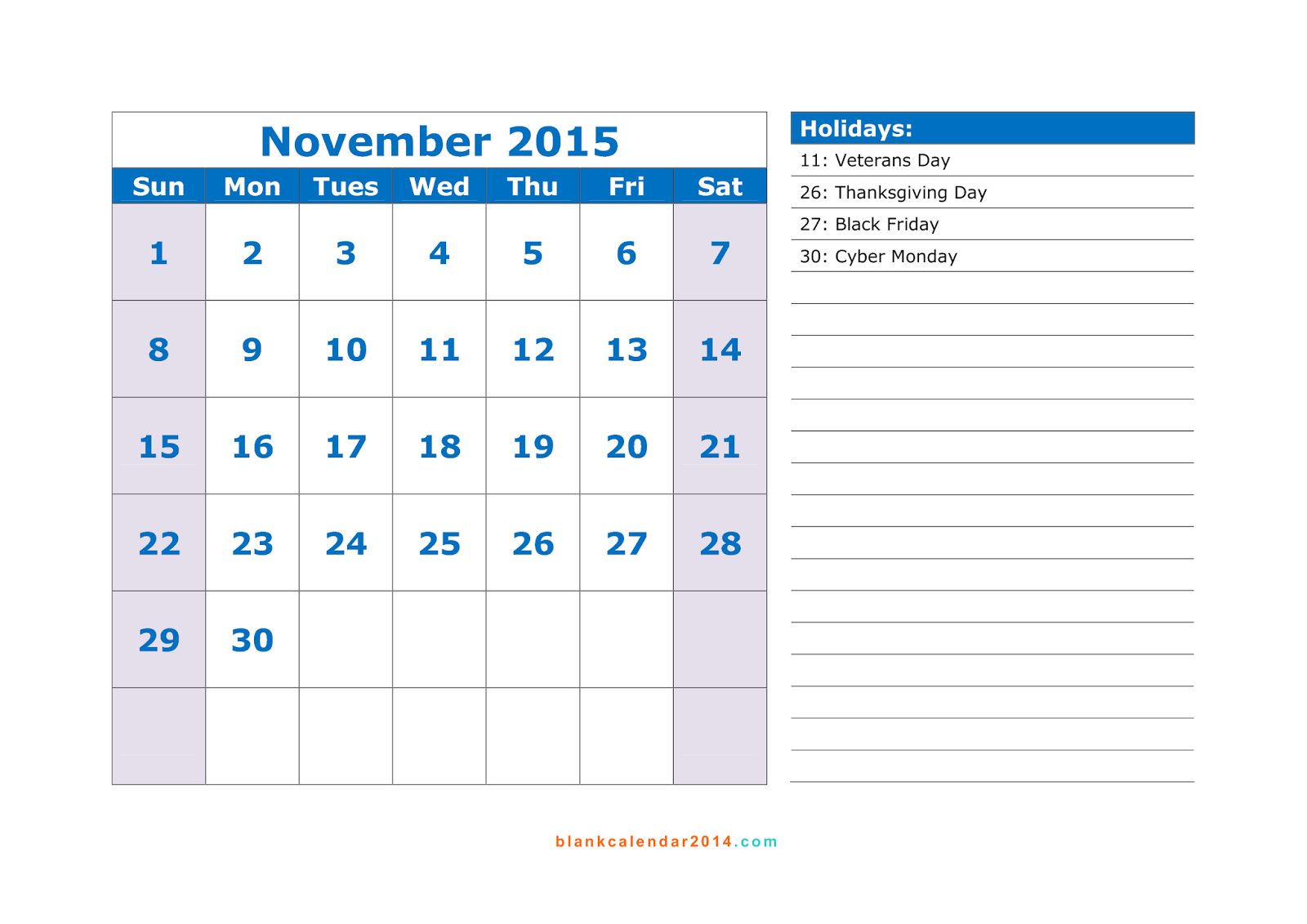 calendar 2015 free printable