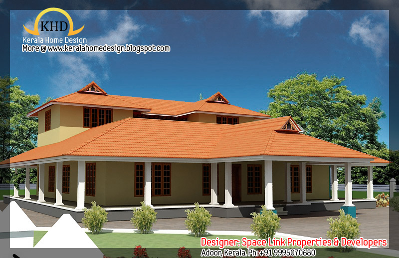 Kerala nalukettu house plan and elevation 2750 sq ft for Low cost kerala veedu plans