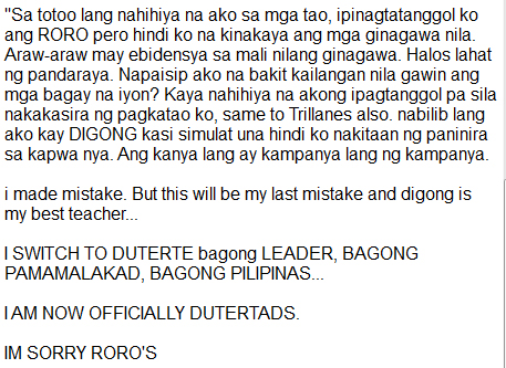 """I SWITCH TO DUTERTE"" Says Former RoRo Supporter who is Now Supporting Duterte. READ HERE!"