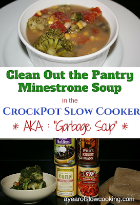 "Use up all of the little tupperwares that accumulate during the week into ""garbage soup"" by adding it all together in the crockpot slow cooker along with a few pantry staples. This minestrone soup is a Free meal that you can make each and every week to use your leftovers!"