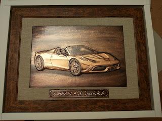 metaloplastie pe tabla de cupru, masina ferrary, masini, tablouri, arta manuala,