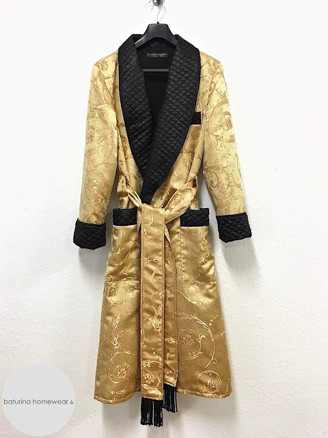 Men's gold black silk dressing gown robe paisley quilted smoking jacket