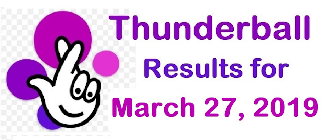 Thunderball results for Wednesday, 27 March 2019