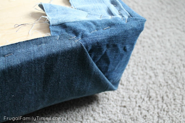 diy window seat cushion corners