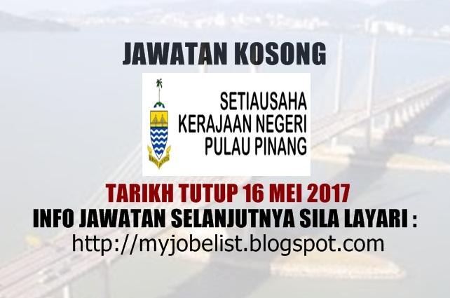 Jawatan Kosong Kerajaan Terkini di SUK Pulau Pinang Mei 2017