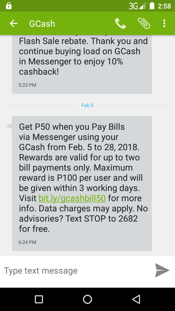 Dropped like a Hatputito: GCash | Messenger Pay Bills Rebate