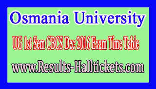Osmania University UG 1st Sem CBCS Dec 2016 Exam Time Table