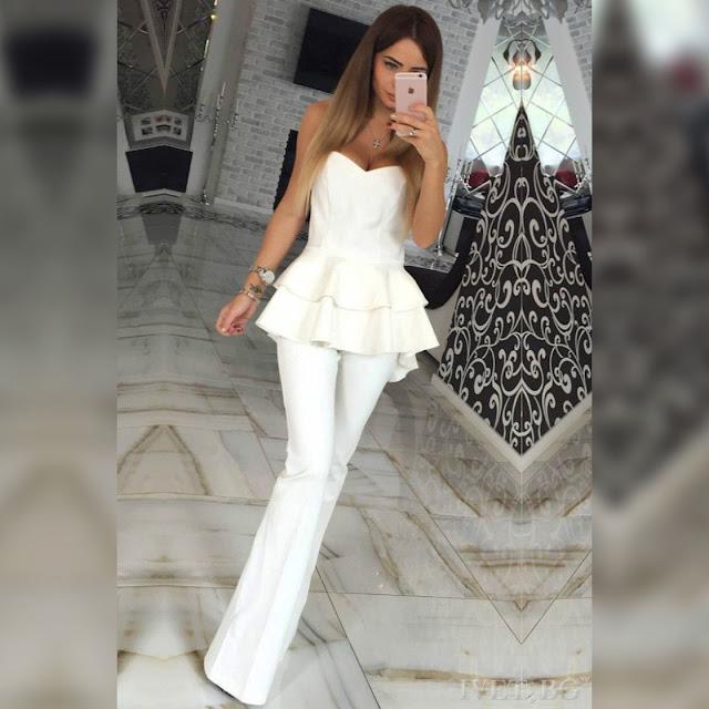 Αμάνικο άσπρο σύνολο MIRENA WHITE - Παντελόνι και μπλούζα