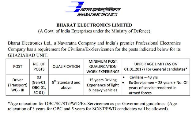 BEL Driver & Havildar Recruitment