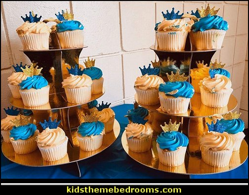 Gold Round Cardboard Cupcake Stand  Little Prince party decorations - Prince Baby Shower - Little Prince Birthday Party supplies -  Little Prince Baby shower cake - Little Prince gold crown cake topper - royal king themed party - Prince themed party - Royal Prince themed baby shower  - Prince and king themed birthday party - Royal themed decorations