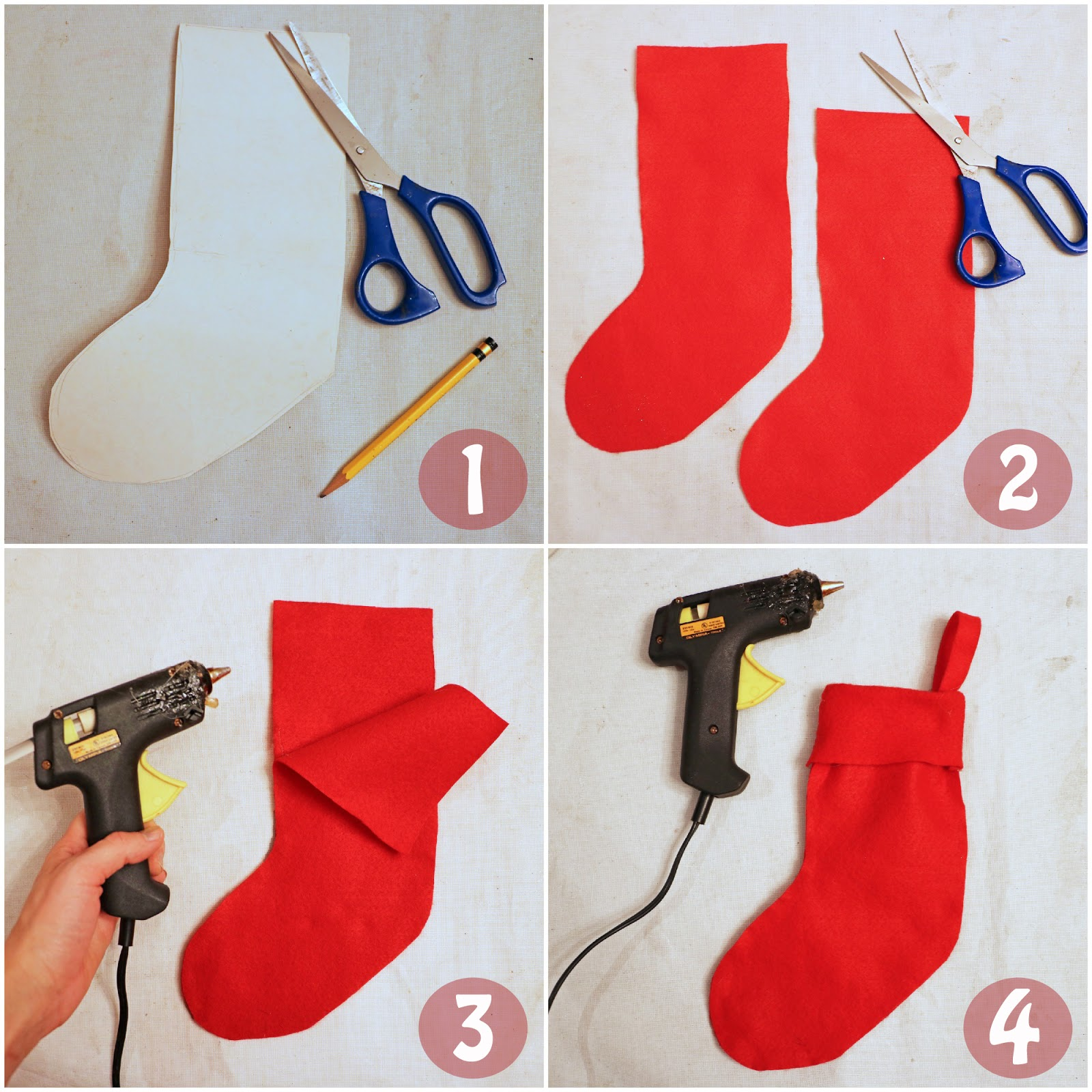 Put together unique Christmas stockings in under 10 minutes! Click through for full tutorial