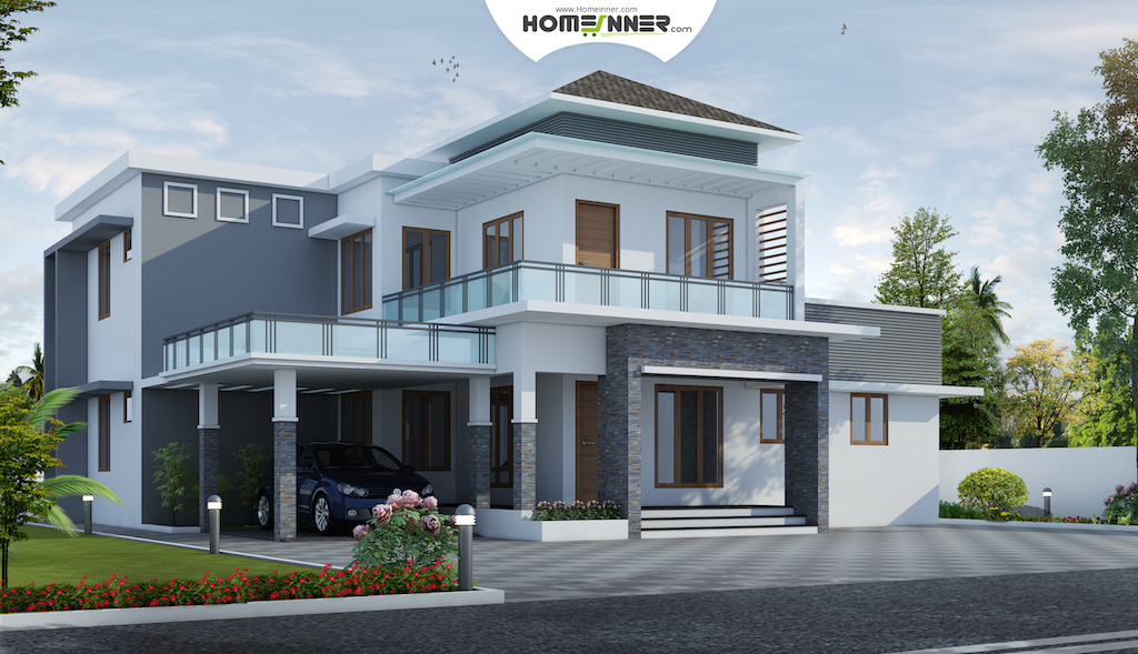 Luxury 4 bhk Modern Indian Villa Design in 2123 sq ft