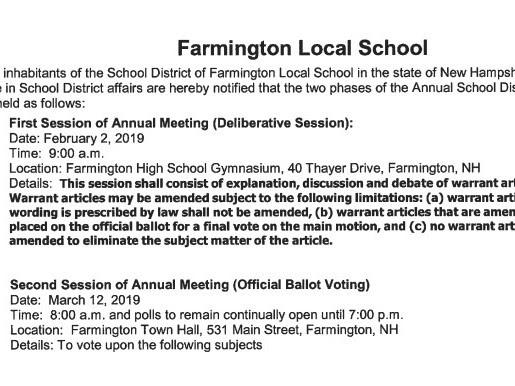 School District Deliberative Session-Saturday, February 2, 2019, 9AM
