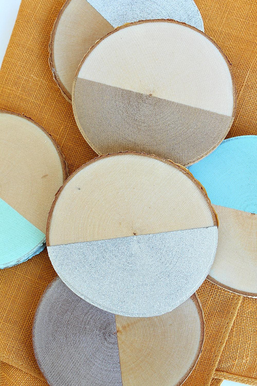 DIY Half Painted Birch Slice Coasters | www.danslelakehouse.com