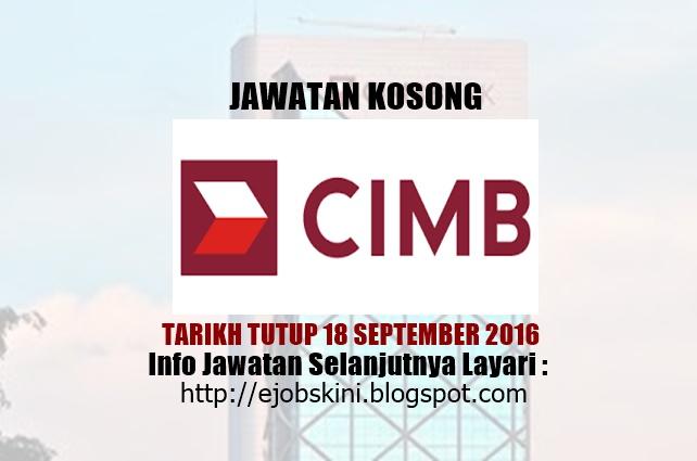 jawatan kosong cimb group september 2016