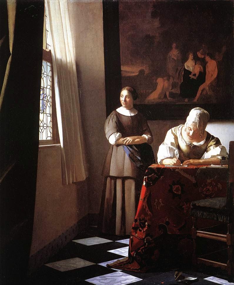 Senhora Escrevendo uma Carta com a Empregada - Vermeer, Jan e suas principais pinturas