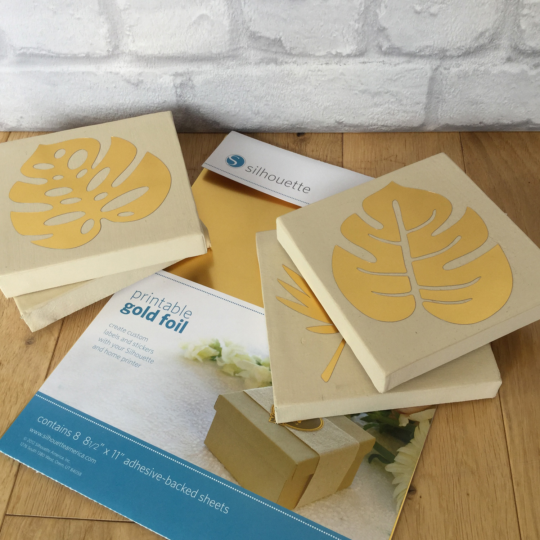photograph regarding Printable Gold Foil Paper known as Silhouette United kingdom: Mini Gold Foil Tropical Leaf Canvas Artwork