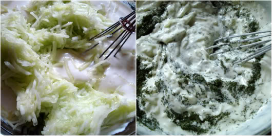 grated, drained cucumbers in sauce