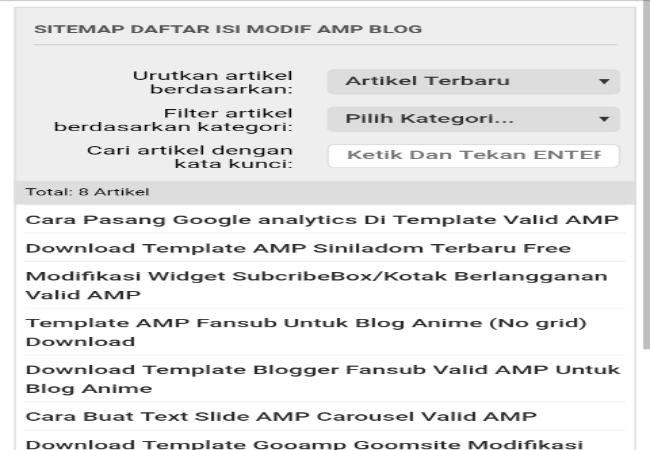Cara Buat Sitemap/Daftar Isi Untuk Blog Valid AMP HTML Terbaru
