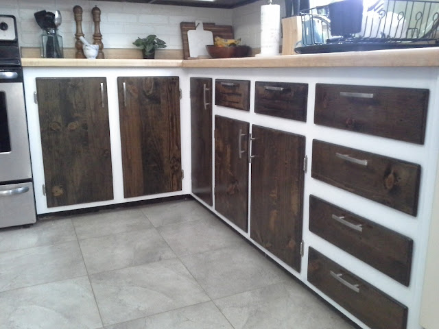 kitchen cabinet makeover reveal white and wood stained