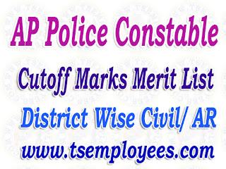 AP Police Constable Cutoff Marks Merit List District Wise 2017 Civil AR