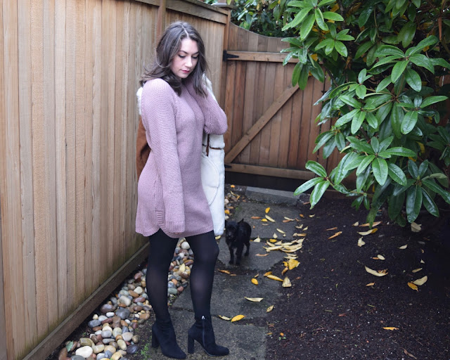 sweater dress, lavendar, winter fashion