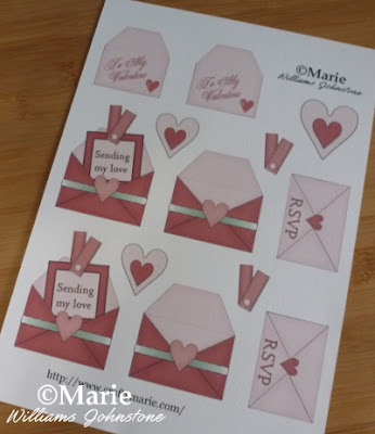 Sheet to print with free heart and Valentine card designs